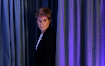 FILE PHOTO: Scotland's First Minister Nicola Sturgeon arrives to offer her reaction to the attack in Manchester to journalists in Edinburgh