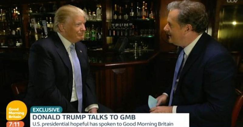 Piers with friend - and President of the United States - Donald Trump on Good Morning Britain (Copyright: ITV)