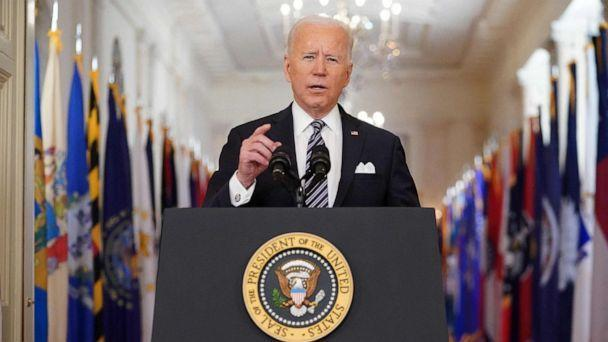 PHOTO: President Joe Biden speaks on the anniversary of the start of the Covid-19 pandemic, in the East Room of the White House in Washington, March 11, 2021. (Mandel Ngan/AFP via Getty Images)