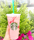 <p>It's already done the rounds once but looks like it's back. Back with Starbucks, whose 'Pink Drink' flooded Instagram and now seems to be on the menu full-time. A Strawberry Acai Refresher made with coconut milk instead of water, it sounds like the perfect spring drink. [Photo: Instagram/pepc0] </p>