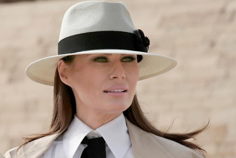 7d145345f00b2 Melania Trump s Jet-Set Style Packs Colorful Pop for Return From Africa Trip