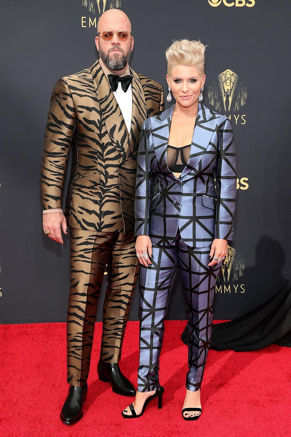 <p>Chris Sullivan and his wife Rachel said <em>This Is Us </em>in some truly eye-catching suits. Rachel opted for a geometric suit, while Chris was on the prowl in a tiger-print suit. </p>
