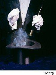 Magicians illusion to illustrate lottery scams