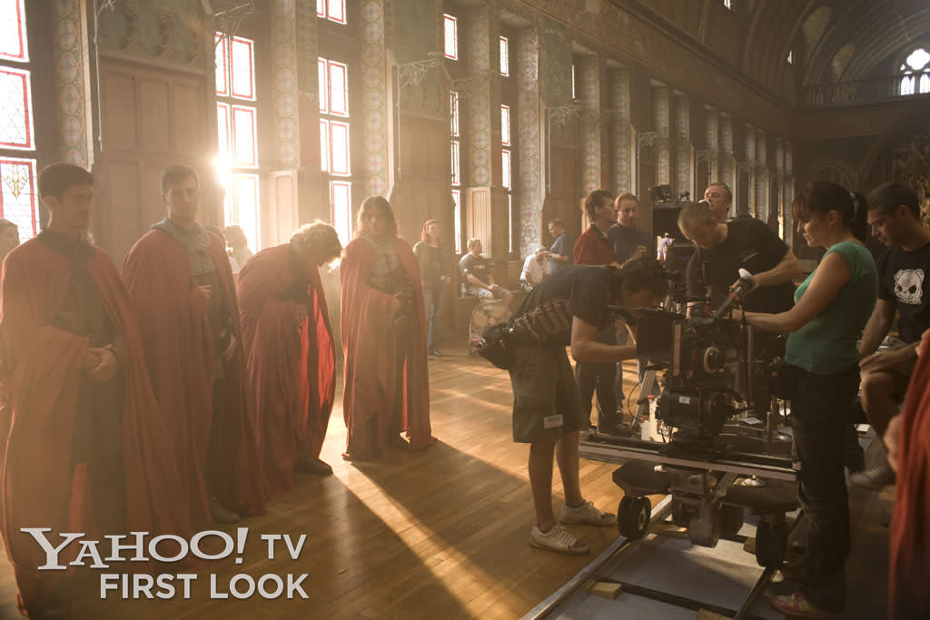 The authentic medieval sets of Merlin led to behind-the-scenes moments as beautiful and moody as anything seen in the epic series.