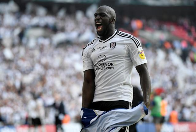 "Soccer Football - Championship Play-Off Final - Fulham vs Aston Villa - Wembley Stadium, London, Britain - May 26, 2018 Fulham's Aboubakar Kamara celebrates promotion to the Premier League Action Images via Reuters/Tony O'Brien EDITORIAL USE ONLY. No use with unauthorized audio, video, data, fixture lists, club/league logos or ""live"" services. Online in-match use limited to 75 images, no video emulation. No use in betting, games or single club/league/player publications. Please contact your account representative for further details."