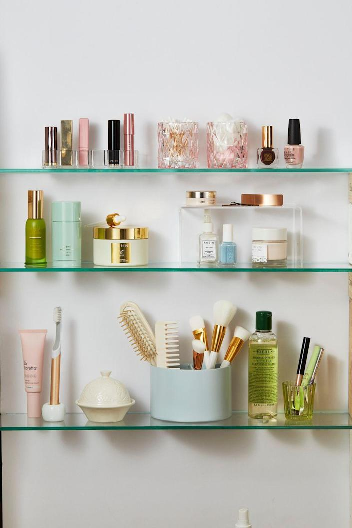 """<p>Getting rid of expired makeup, skincare, and hair products is a quick way to declutter. Not all products note an expiration date, but many say how many months the product will last after opening. """"To stay on top of their expiration date, use a thin-tipped permanent marker to write on the date you opened it,"""" suggests organizing expert, <a href=""""http://www.jeffreyphillip.com/"""" rel=""""nofollow noopener"""" target=""""_blank"""" data-ylk=""""slk:Jeffrey Phillip"""" class=""""link rapid-noclick-resp"""">Jeffrey Phillip</a>.</p>"""