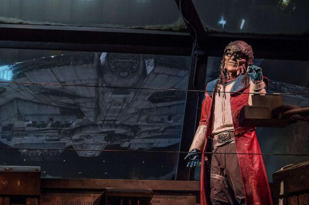 PHOTO:The notorious Weequay pirate, Hondo Ohnaka, gives guests their mission prior to boarding Millennium Falcon: Smugglers Run at Star Wars: Galaxy'•s Edge at Disneyland Park in Anaheim, Calif., and at Disney's Hollywood Studios in Lake Buena Vista, Fla. (Richard Harbaugh/Disney Parks)