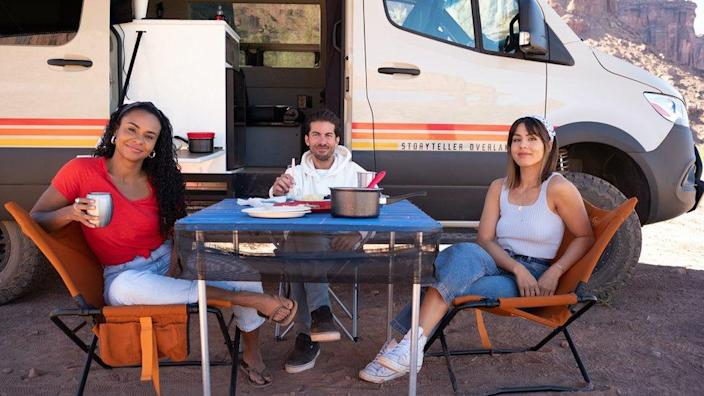 Hosts of Netflix's The World's Most Amazing Vacation Rentals, from left to right, Jo Franco, Luis Ortiz and Megan Batoon