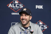 Houston Astros starting pitcher Justin Verlander answers questions during a news conference before Game 4 of baseball's American League Championship Series against the New York Yankees, Thursday, Oct. 17, 2019, in New York. (AP Photo/Frank Franklin II)