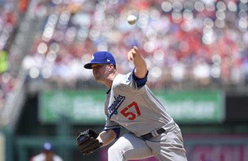 Los Angeles Dodgers starting pitcher Alex Wood delivers during the first inning of a baseball game against the Washington Nationals, Sunday, May 20, 2018, in Washington. (AP Photo/Nick Wass)