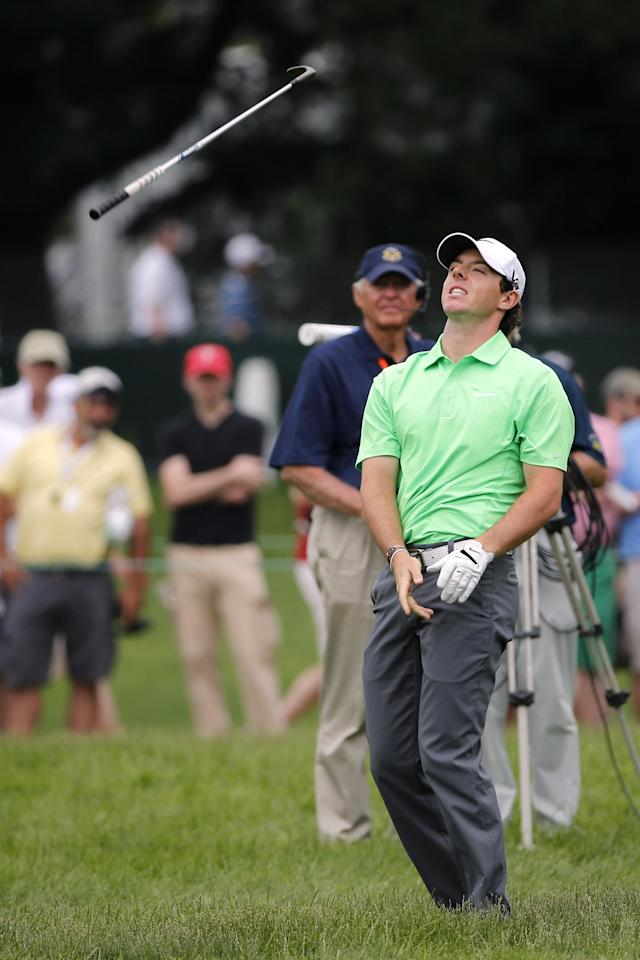 ARDMORE, PA - JUNE 16: Rory McIlroy of Northern Ireland throws his club after chipping to the fourth green during the final round of the 113th U.S. Open at Merion Golf Club on June 16, 2013 in Ardmore, Pennsylvania. (Photo by Rob Carr/Getty Images)