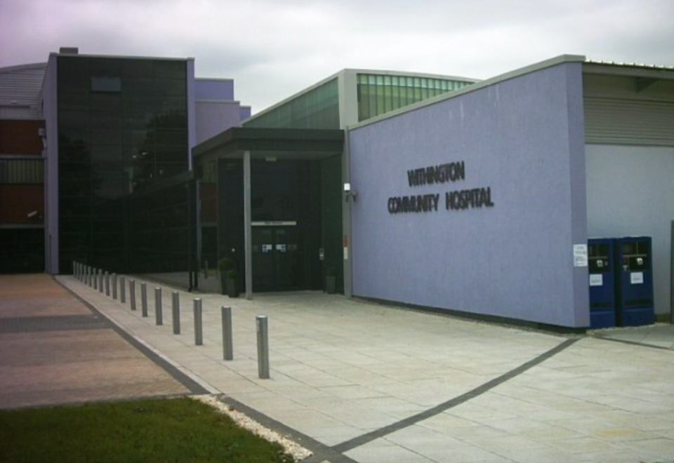<em>Bull wrongly pressed the accelerator of his automatic transmission Ford Focus instead of the brake after dropping his wife off at Withington Community Hospital (Geograph)</em>