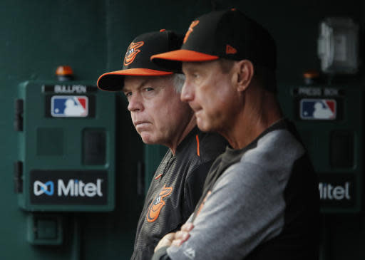 Baltimore Orioles manager Buck Showalter, left, stands in the dugout with bench coach John Russell during the first inning of the team's baseball game against the Washington Nationals at Nationals Park, Thursday, June 21, 2018, in Washington. (AP Photo/Carolyn Kaster)