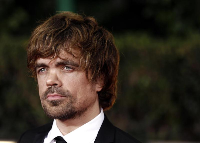 FILE - This Jan. 15, 2012 file photo shows actor Peter Dinklage at the 69th Annual Golden Globe Awards in Los Angeles. Dinklage, 43, who has been a vegetarian since he was 16, is the national spokesman for Farm Sanctuary's annual Walk for Farm Animals. He has filmed a YouTube video and will spend his off season promoting the group's campaign to change the way society views and treats farm animals. (AP Photo/Matt Sayles, file)