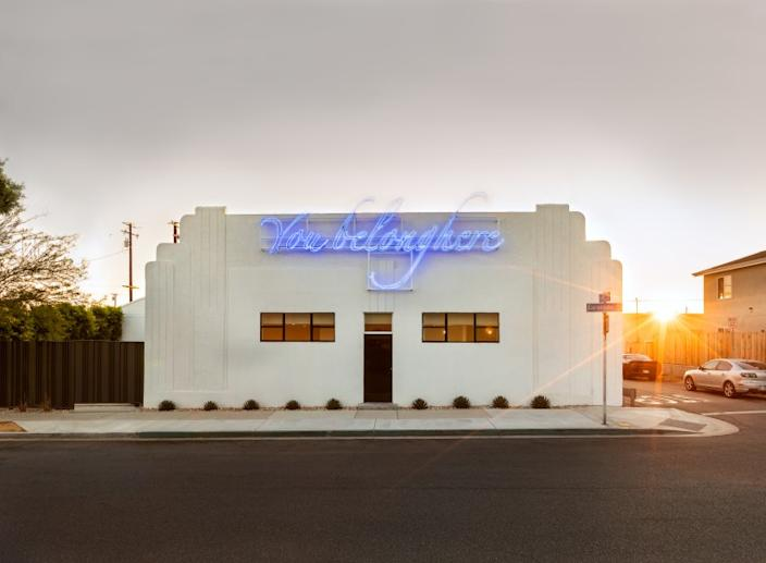 "Tavares Strachan's neon work, on the facade of Compound, a new arts venue set to open in Long Beach in September. <span class=""copyright"">(Laure Joilet)</span>"