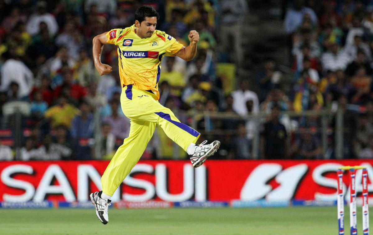 Chennai Super King player Mohit Sharma celebrates after getting the wicket of Pune Warriors player Aaron Finch during match 42 of the Pepsi Indian Premier League ( IPL) 2013  between The Pune Warriors India and the Chennai Superkings held at the Subrata Roy Sahara Stadium, Pune on the 30th April  2013.(BCCI)