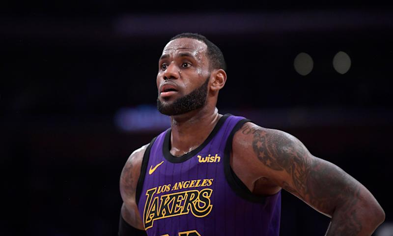 Los Angeles Lakers forward LeBron James stands on the court during the second half of an NBA basketball game against the Brooklyn Nets Friday, March 22, 2019, in Los Angeles. The Nets won 111-106. (AP Photo/Mark J. Terrill)