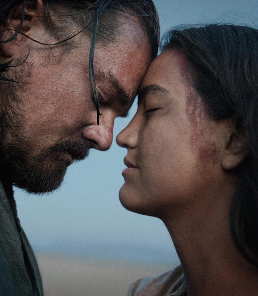 <p>In'The Revenant,' Leonardo DiCaprio plays 1800s frontiersman Hugh Glass (pictured here with a Pawnee Indian woman played by Grace Dove). The film, directed by Oscar winnerAlejandro González Iñárritu, is based onMichael Punke's 2003 novel of the same name. According to production designer Jack Fisk, a character that does not appear in the book was added to the film: Glass's son.</p>