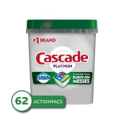 """<p><strong>Cascade</strong></p><p>walmart.com</p><p><strong>$16.97</strong></p><p><a href=""""https://go.redirectingat.com?id=74968X1596630&url=https%3A%2F%2Fwww.walmart.com%2Fip%2F134359598&sref=https%3A%2F%2Fwww.goodhousekeeping.com%2Fhome%2Fcleaning%2Fg32320620%2Fbest-dishwasher-detergents%2F"""" rel=""""nofollow noopener"""" target=""""_blank"""" data-ylk=""""slk:Shop Now"""" class=""""link rapid-noclick-resp"""">Shop Now</a></p><p>Cascade is synonymous with <strong>great dishwasher detergent performance and these Actionpacs are as good as it gets.</strong> Part powder, part gel, they have the optimal combination of grease cutters and grime fighters to remove the stuck-on stuff, but also have ingredients to minimize spotting and protect glassware from harmful etching that can leave it looking dull and cloudy. We love them so much, we use them in other GH kitchens to clean up after all the testing we do. </p>"""