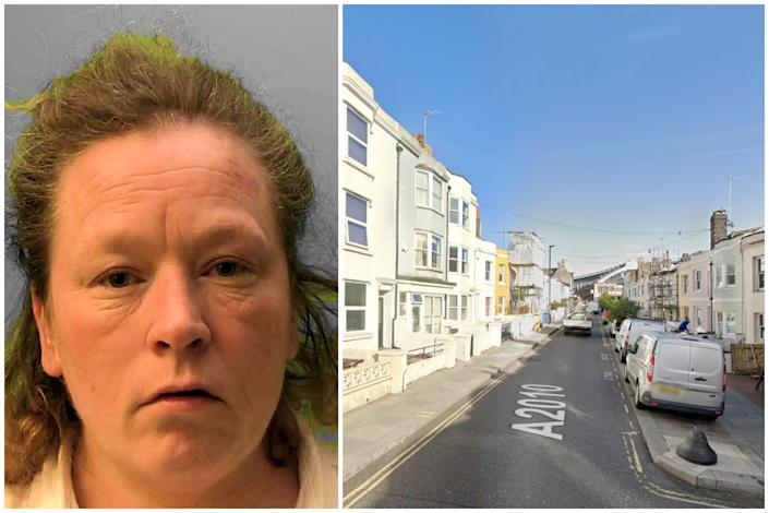 Amy Winter has been jailed for attacking paramedics as they tried to help her after a flat fire. (SWNS/Sussex Police/Google Maps)