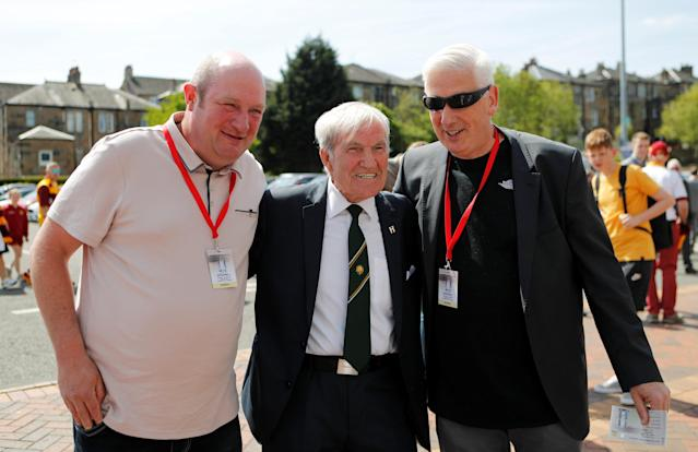 Soccer Football - Scottish Cup Final - Celtic vs Motherwell - Hampden Park, Glasgow, Britain - May 19, 2018 Former Celtic player Bertie Auld (C) outside the stadium before the match REUTERS/Russell Cheyne