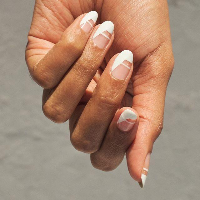 """<p>Calling all minimalist brides! This graphic white mani is the one for you.</p><p><a href=""""https://www.instagram.com/p/CCwyvjGJ_bg/?utm_source=ig_embed&utm_campaign=loading"""" rel=""""nofollow noopener"""" target=""""_blank"""" data-ylk=""""slk:See the original post on Instagram"""" class=""""link rapid-noclick-resp"""">See the original post on Instagram</a></p>"""