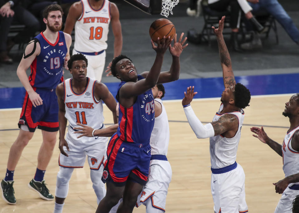 Detroit Pistons forward Sekou Doumbouya (45) drives to the basket during the first half against the New York Knicks in an NBA basketball game Thursday, March 4, 2021, in New York. (Wendell Cruz/Pool Photo via AP)