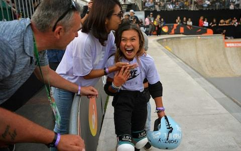 Sky Brown celebrates coming third in the finals of the World Park Skateboarding Championship in Sao Paulo - Credit: afp