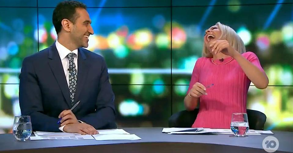 Carrie Bickmore with Waleed Aly on The Project