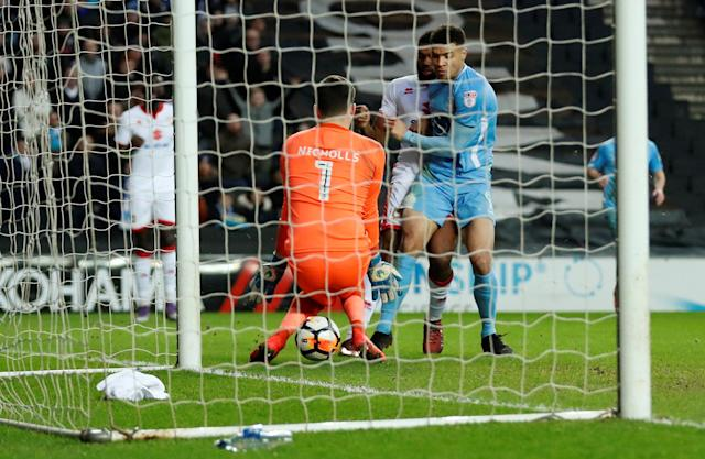 Soccer Football - FA Cup Fourth Round - Milton Keynes Dons vs Coventry City - Stadium MK, Milton Keynes, Britain - January 27, 2018 Coventry's Maxime Biamou scores their first goal Action Images/Andrew Boyers