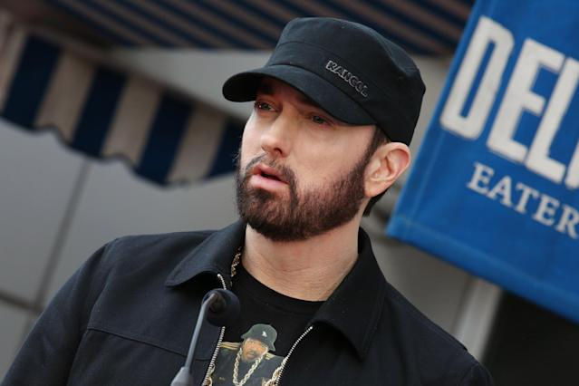 Mandatory Credit: Photo by Matt Baron/Shutterstock (10543976cv) Eminem 50 Cent honored with a Star on the Hollywood Walk of Fame, Los Angeles, USA - 30 Jan 2020
