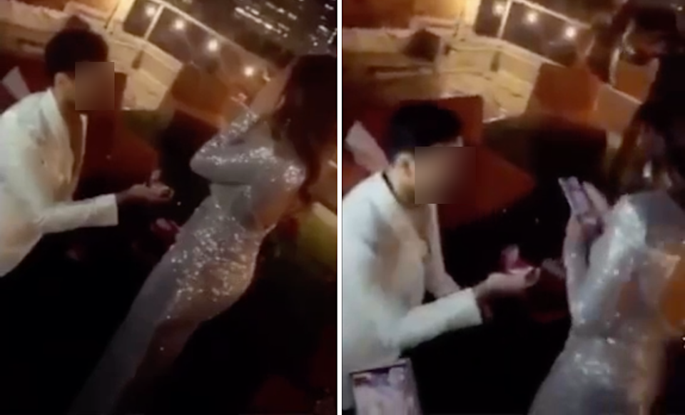 Bride records groom popping question