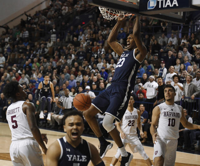 Yale's Jordan Bruner dunks the ball during the second half of an NCAA college basketball game for the Ivy League championship against Harvard at Yale University in New Haven, Conn., Sunday, March 17, 2019, in New Haven, Conn. (AP Photo/Jessica Hill)