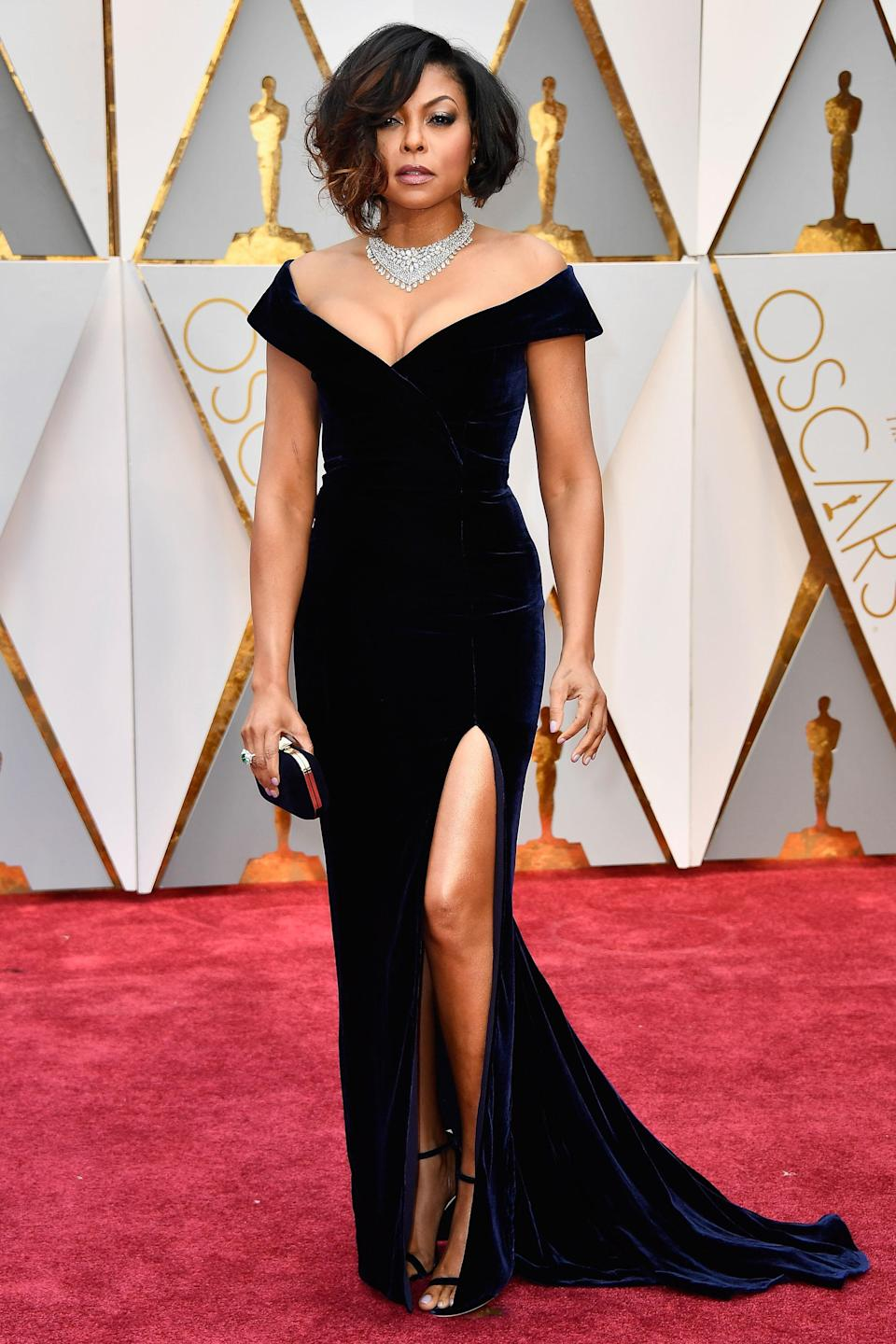 """<h2>Taraji P. Henson, 2017 </h2><br>Taraji P. Henson blew us back to the 1950s in this Alberta Ferretti Old Hollywood-esque velvet gown. And that necklace? Whew, we're getting excited just thinking about it.<br><br><em>Taraji P. Henson in Alberta Ferretti. </em><span class=""""copyright"""">Photo: Frazer Harrison/Getty Images. </span>"""