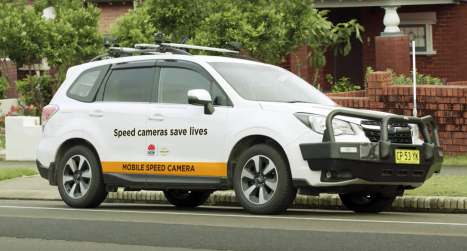 A photo of a mobile speed camera parked in a suburban street. Source: Transport for NSW.