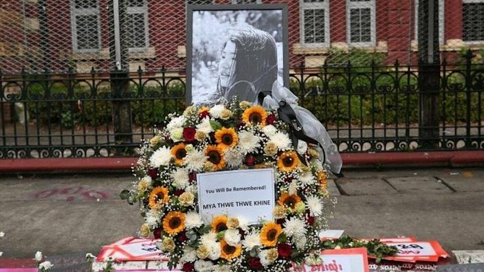 A memorial for Mya Thwate Thwate Khaing, a teenager who was shot in the head when police cracked down on a protest against the military coup in Naypyitaw is seen in Yangon, Myanmar,