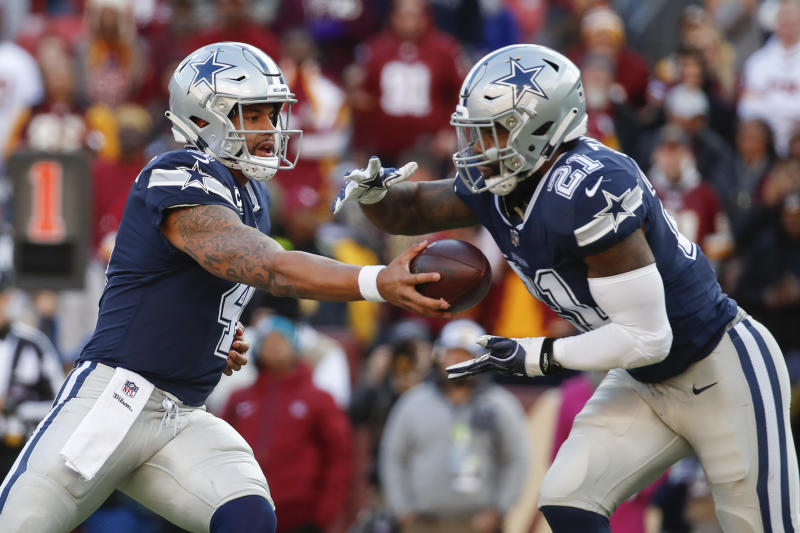 Dallas Cowboys, led by quarterback Dak Prescott (4) and driving back Ezekiel Elliott (21) has a tough task on Sunday. (AP)