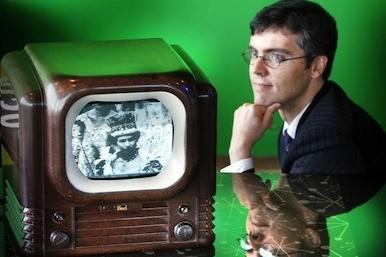 Old TV with inventor's grandson