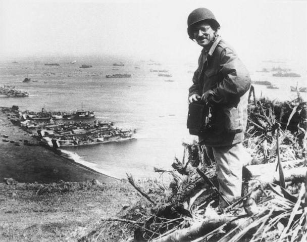 PHOTO: Associated Press photographer Joe Rosenthal poses with his camera on Iwo Jima, March 7, 1945. (U.S. Marine Corps/AP)