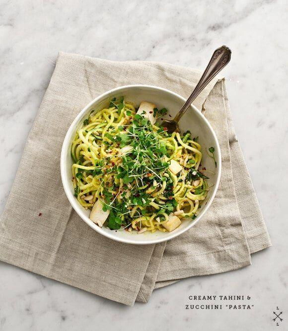 """<p>You'll love how beautifully the bite of taut zucchini noodles pairs with soft, creamy tofu. And the vegan tahini sauce will have you licking the bowl clean!</p><p><em><a href=""""https://www.loveandlemons.com/tahini-zucchini-pasta/"""" rel=""""nofollow noopener"""" target=""""_blank"""" data-ylk=""""slk:Get the recipe from Love & Lemons »"""" class=""""link rapid-noclick-resp"""">Get the recipe from Love & Lemons »</a></em></p>"""