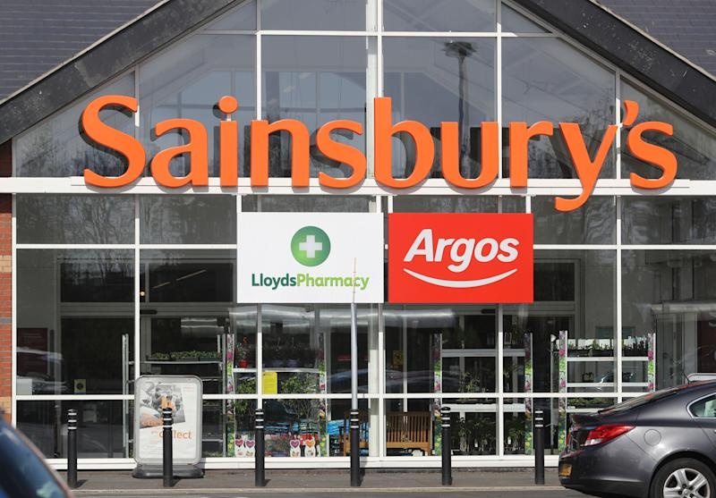 General view of the entrance to a Sainsbury's supermarket, incorporating a Lloyds Pharmacy and an Argos store, in Whitley Bay, North Tyneside. (Photo by Owen Humphreys/PA Images via Getty Images)
