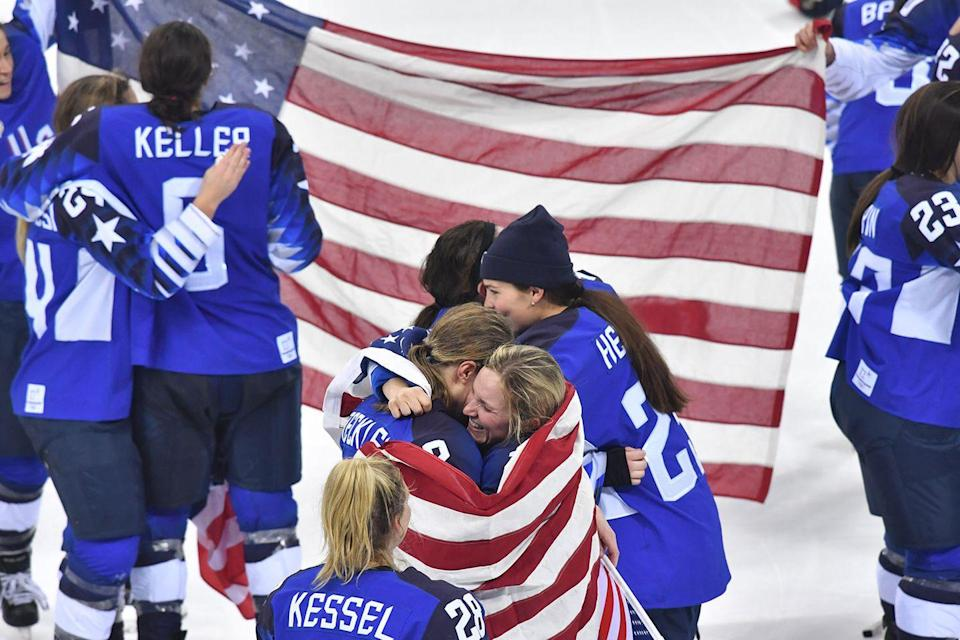 """<p>Team USA celebrated taking the gold in the Women's Ice Hockey final at the <a href=""""https://www.goodhousekeeping.com/life/news/a47871/north-and-south-korea-opening-ceremony/"""" rel=""""nofollow noopener"""" target=""""_blank"""" data-ylk=""""slk:Olympic games in Pyeongchang"""" class=""""link rapid-noclick-resp"""">Olympic games in Pyeongchang</a>.</p><p><strong>RELATED:</strong> <a href=""""https://www.goodhousekeeping.com/olympic-games-news/"""" rel=""""nofollow noopener"""" target=""""_blank"""" data-ylk=""""slk:Everything You Missed From the 2018 Olympics"""" class=""""link rapid-noclick-resp"""">Everything You Missed From the 2018 Olympics </a></p>"""