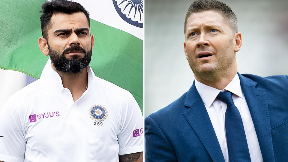 Michael Clarke and Virat Kohli, pictured here on the cricket field.
