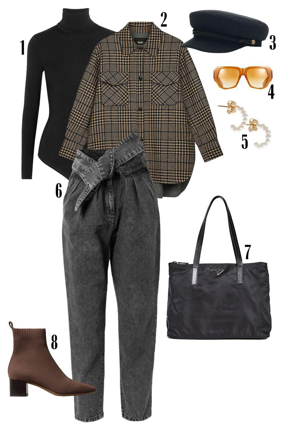 """<p>Your weekend full of errands doesn't have to lack in style. Get this off-duty look by layering a acid-wash jean over your Wolford bodysuit. Throw on a plaid shacket for an added relaxed feel and accessorize with yellow lens sunnies, a fisherman cap, and low-block heel boots for style and comfort.</p><p>Shop the pieces: <em><a href=""""https://www.net-a-porter.com/en-us/shop/product/wolford/colorado-thong-bodysuit/618045"""" rel=""""nofollow noopener"""" target=""""_blank"""" data-ylk=""""slk:Wolford Colorado Bodysuit"""" class=""""link rapid-noclick-resp"""">Wolford Colorado Bodysuit</a></em><em>,</em> $250; <a href=""""https://www.selfridges.com/US/en/cat/maje-gavino-oversized-check-coat_R03630910/?previewAttribute=CAMEL&previewSize=10&cm_mmc=PLA-_-GoogleUS-_-WOMENS-_-MAJE&POR=Y&utm_source=google&utm_medium=cpc&utm_campaign=na_na_pla-b_na_na_na_INT_USA-PLA-CATCHALL&gclid=Cj0KCQiA34OBBhCcARIsAG32uvOCVOvi6k7o4BLM3mbtQDmxhGwi2g83VUd5H-_XmgVeHSdZ7AJs2qQaAqorEALw_wcB&gclsrc=aw.ds"""" rel=""""nofollow noopener"""" target=""""_blank"""" data-ylk=""""slk:MAJE Shaket"""" class=""""link rapid-noclick-resp"""">MAJE Shaket</a>, $595; <em><a href=""""https://www.brixton.com/products/fiddler-cap-black"""" rel=""""nofollow noopener"""" target=""""_blank"""" data-ylk=""""slk:Brixton Cap"""" class=""""link rapid-noclick-resp"""">Brixton Cap</a></em>, $45; <em><a href=""""https://www.nordstrom.com/s/pared-bec-bridge-48mm-geometric-sunglasses/5756622"""" rel=""""nofollow noopener"""" target=""""_blank"""" data-ylk=""""slk:Bec & Bridge Sunglasses"""" class=""""link rapid-noclick-resp"""">Bec & Bridge Sunglasses</a></em><em>,</em> $220; <em><a href=""""https://www.catbirdnyc.com/baby-pearl-hoop-single.html"""" rel=""""nofollow noopener"""" target=""""_blank"""" data-ylk=""""slk:Cat Bird Earrings"""" class=""""link rapid-noclick-resp"""">Cat Bird Earrings</a></em>, $88, <em><a href=""""https://www.net-a-porter.com/en-us/shop/product/iro/repu-cropped-belted-acid-wash-high-rise-tapered-jeans/1216693"""" rel=""""nofollow noopener"""" target=""""_blank"""" data-ylk=""""slk:IRO Denim"""" class=""""link rapid-noclick-resp"""">IRO Denim</a></em>, $160; <em><a href=""""h"""