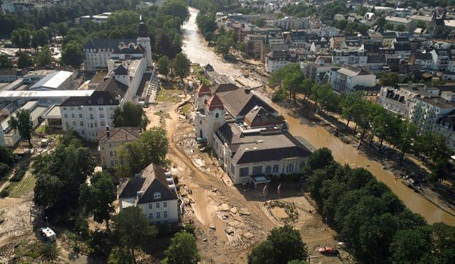 Damage and debris from flooding near the Ahr River, Germany