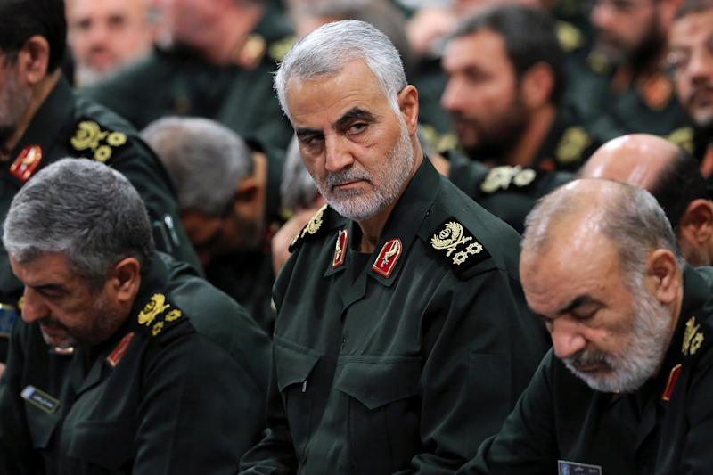 Gen. Qasem Soleimani, center, attends a meeting with Supreme Leader Ayatollah Ali Khamenei and Revolutionary Guard commanders in Tehran in September 2016.   Office of the Iranian Supreme Leader/AP