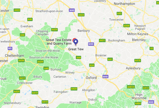The Great Tew Estate is slightly north of Oxford [Photo: Google Maps]