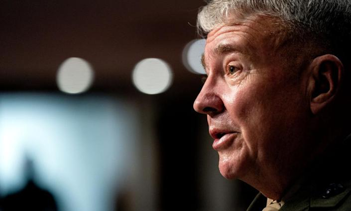 Kenneth McKenzie, commander of the US Central Command, speaks at the US Senate hearing