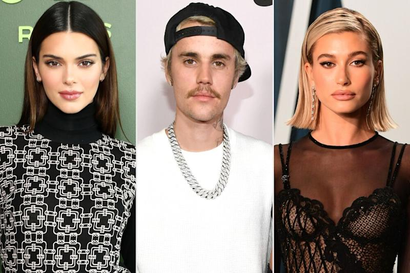 Kendall Jenner; Justin Bieber; Hailey Baldwin | Cindy Ord/Getty Images; Kevin Mazur/Getty Images; Ian West/PA Images via Getty Images