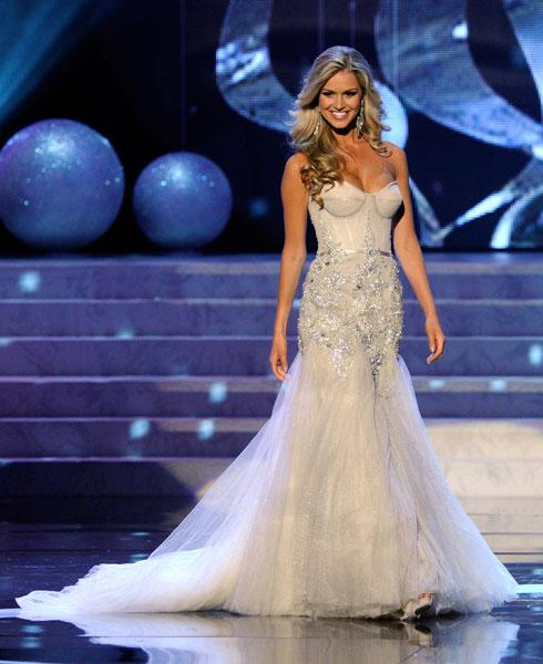<b>Miss Universe 2012 </b><br><br>Finalist Miss Australia Renae-Ayris walks the runway for the evening gowns section.<br><br>© Getty
